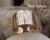 10K, 14K Solid Gold or Sterling Silver- Hand Engraved Monogram Ring, Initials Ring,  Cuff Ring(Order Any Initials) - Yellow, Rose or White