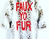 Faux Fur Coat Radical White Snow Leopard Animal Print Jacket Small