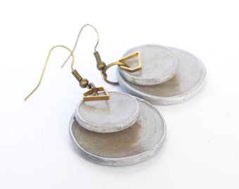 Beton, Concrete, gray disc earrings, polymer clay earring dangle, Grey earrings, Art Cement, Modern, Contemporary, Industrial Jewelry
