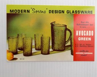 Vintage Mid Century Texaco Oil and Gas Advertising Postcard    Anchor Hocking Soreno Glassware - Pitcher & Glasses     Arkansas    Louisiana
