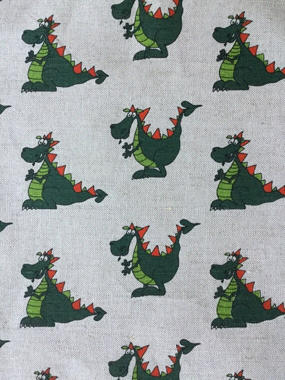 On sale linen dragon fabric 19 68 x 59 inch animated for Dragon fabric kids