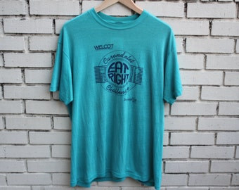 """Vintage WELCOT """"Eat Right"""" Shirt Stedman tag healthy fitness wellness council of tuscon arizona"""