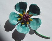 Large Blue Enamel Flower Pin