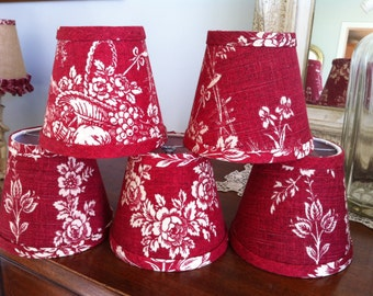 Set of 2 Chandelier Lampshades red and cream French toile Waverly Country House wall sconce lampshade