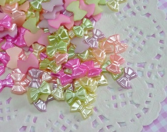 50 pcs/100 pcs 12mm Mixed/Assorted Pastel Pearlised Bow Flatback Cabochon Pearl Cabochons For Decoden Kawaii Craft. DIY Phone Decoration