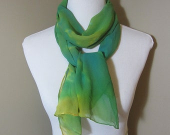 Hand dyed green, yellow, and blue silk chiffon scarf -