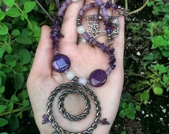 Purple Agate Moonstone Amethyst Jewelry Set – Necklace Earrings Set  – Amethyst Jewelry – Moonstone Jewelry – Statement Agate Jewelry