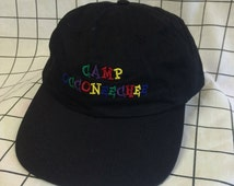 Vintage Black Color Embroidered 'Camp Occoneechee' Baseball Cap/Hat
