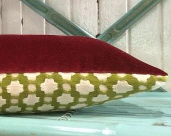Decorative Christmas Pillow in designer Schumacher Fabric