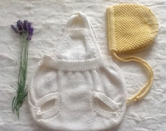 Vintage style, hand knitted baby romper. White Retro style baby Romper. Made to order. 0-3,3-6 and 6-12 months.