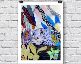 "Leopard print / ""Blue Leopard"" / A4 / A3 Signed Inkjet Fine Art Print / big cats / jungle scene"
