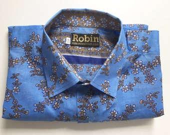 Mens shirt floral print on blue separate floral detailing inside collar Short sleeves VERY Lightweight 100% cotton