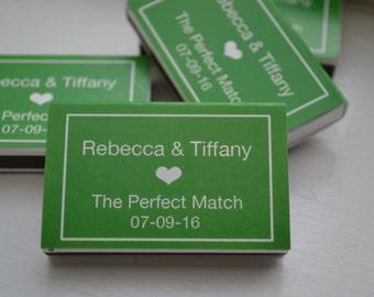 50 Custom Designed Matchbox Wedding Favors - Rebecca & Tiffany