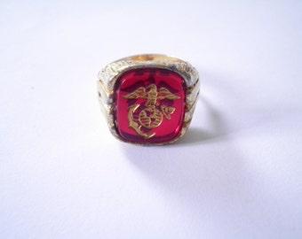 1 Adjustable Goldplated U.S. Marine Ring