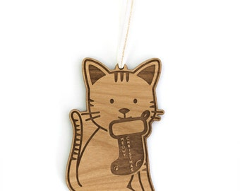 Meow-y Christmas  Wood Ornament
