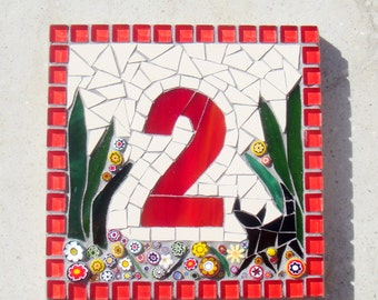 Cat Mosaic House Number, 1 digit, door number, nameplate, address plaque, street sign, Black cat, custom number, bespoke, animal, red square