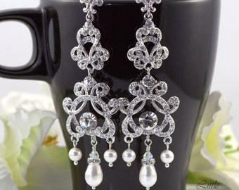 Bridal Chandelier Earrings Wedding Earrings Swarovski Pearl Crystal Rhinestone Earrings Dangle Drop Clear Crystals Vintage Style Bridal ZARA