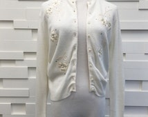 vintage embroidered embellished ivory cardigan   small   wedding 1950s floral rhinestones   the sally sweater