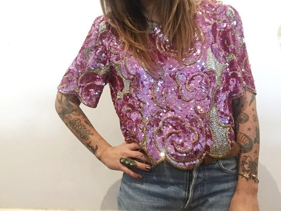 Mango Beaded Blouse Vintage Rose 113