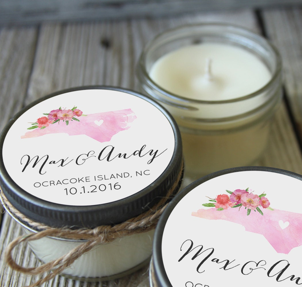 Set Of 12 4 Oz Soy Candle Wedding Favors Watercolor State