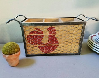 Red Rooster Chicken Wire Basket Farmhouse