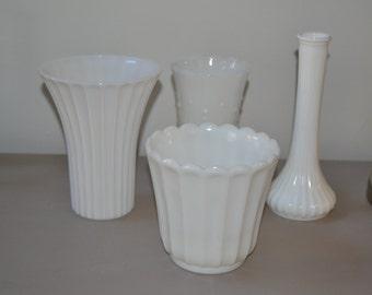 Four Vintage Milk Glass Vase and Planter Home Wedding Decor