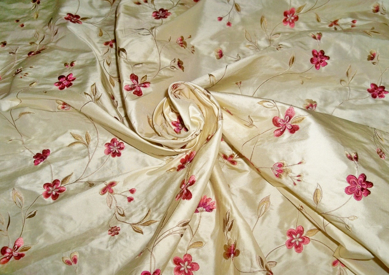 Designer floral vines embroidered silk fabric yards