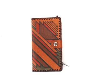 Genuine leather wallet Soviet vintage tooled leather wallet Embossed leather wallet Geometric wallet Unisex vintage wallet
