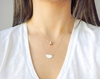 Gold Half Moon Necklace (14k gold filled, layering necklace, minimal, everyday necklace, petite, modern, gold semi circle, gold half circle)