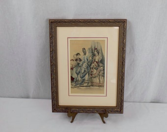 """Professionally Framed Antique Godey""""s Fashion For November Print - Victorian French Bridal Artwork - Art Nouveau Wall Hanging for Her"""