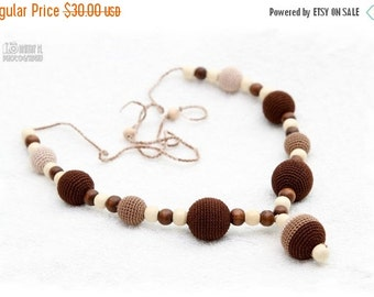 SALE 25% off SALE Breastfeeding Nursing mom necklace Teething necklace - brown,beige,cream, mom accessory.