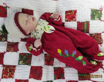 Silicone reborn mini baby Christmas sleeper set for 10 inch art doll   Clothing Only!!