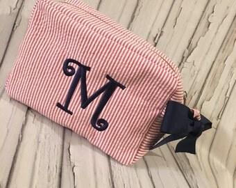 Red Seersucker Preppy Personalized Monogram Cosmetic Toiletry Bag
