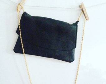 The night in leather pouch. Leather clutch.