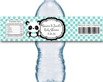 Baby Panda Baby Shower Water Bottle Label- Printable File