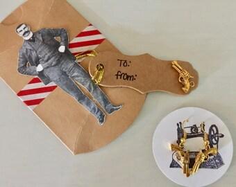 Gold Hand Gun Earrings
