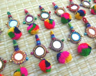 Pompom Mirror Decororation Handmade Craft Supplies  Keychain Decorating Supply Mirror Decor Tassel Decor Gypsy Accessories Bohemian Fashion