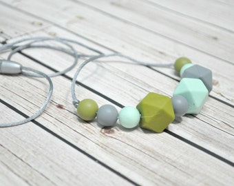 Silicone Necklace - Necklace Teething - Silicone Teething - Mommy Necklace - Green Grey
