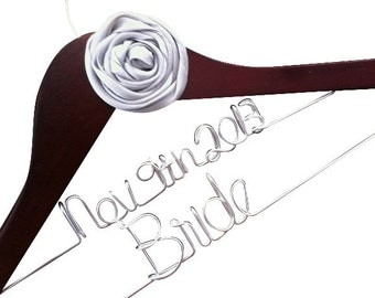 Personalized Bride Hanger With Wedding Date . Comes With Large Custom Flower.