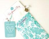Aqua & White Sunglass Bag, Sunglasses Holder, Drawstring Bag, Glasses Pouch - Supports Girls Education - Natural Fabrics, Handmade