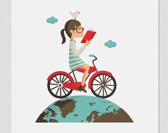 Illustration. Read cycling. Print. Wall art. Art decor. Hanging wall. Printed art. Decor home. Gift idea. Bedroom.Sweet home. Tutticonfetti.