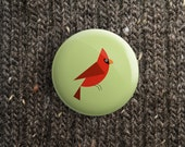 button with red cardinal (pinback / magnet / mirror ) spring gift