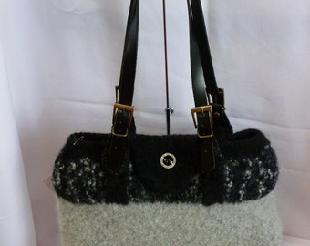 Hand Knit and Felted Grey Purse with adjustable Leather Straps