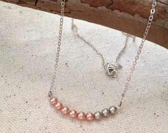 beaded bar necklace, dainty sterling silver chain, beaded pearl necklace, rose pink pewter taupe, layering minimalist necklace, swarovski