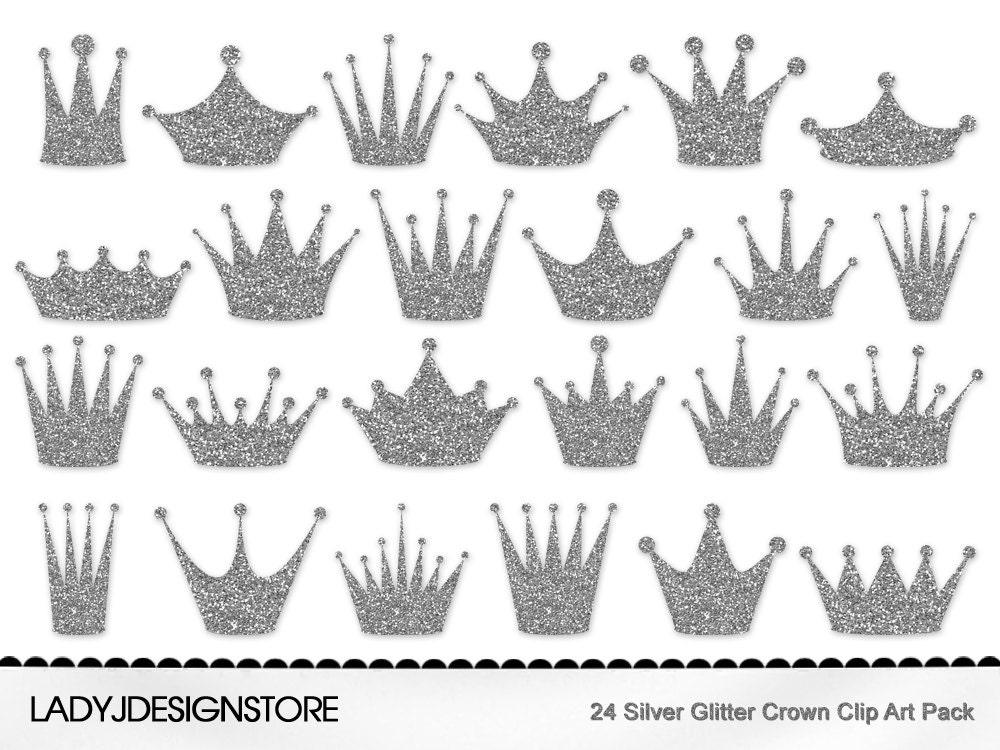 silver glitter crown clip art pack