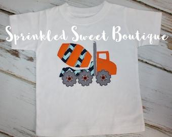 Boys Custom Cement Truck Applique Shirt Add Name Monogram Perfect for Birthday