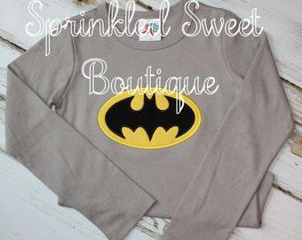 Superhero Custom Applique Boys Girls Batman Bruce Wayne Shirt Perfect for Birthday White or Color Shirt Available