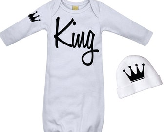 Newborn Boy Take Home Outfit Baby Boys King Outfit Hospital Take Home Clothes Newborn Baby Boy Outfit White and Black