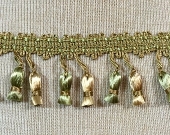 Drapery Curtain, Trim, Tassel Trim, Green and Bronze DIY Lampshade Supply, Decorative Home Decor Trim