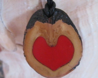 Black Walnut Necklace, Red Heart, Pendant